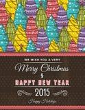 Kerstmisachtergrond met bos van Kerstmisbomen, vector Royalty-vrije Stock Fotografie
