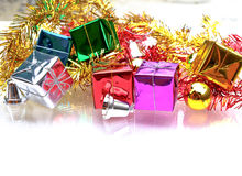 Kerstmisachtergrond met de decoratie van giftdozen Royalty-vrije Stock Fotografie