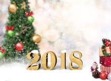 Kerstmisachtergrond met de doos Gelukkig Nieuwjaar van de decoratiegift Stock Foto's