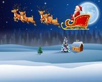 Kerstmisachtergrond met de Kerstman die zijn rendierar berijden Royalty-vrije Stock Afbeelding