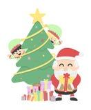 Kerstmisachtergrond met de Kerstman en Kerstmiself Stock Foto's