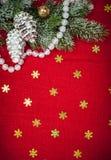 Kerstmisachtergrond met decoratie en speelgoed Stock Foto's