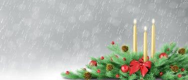 Kerstmisachtergrond met decoratie het 3d teruggeven stock illustratie