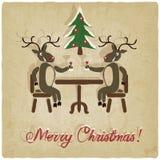 Kerstmisachtergrond met deers vector illustratie