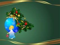 Kerstmisachtergrond met een engel en een snuisterij royalty-vrije illustratie