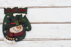 Kerstmisachtergrond met een Kerstmisvuisthandschoen op Geweven Grunge Royalty-vrije Stock Foto