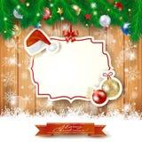 Kerstmisachtergrond met etiket, hoed en snuisterijen vector illustratie
