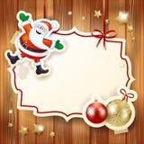 Kerstmisachtergrond met etiket, Kerstman en snuisterijen Stock Foto's