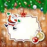Kerstmisachtergrond met etiket, Kerstman en snuisterijen Stock Fotografie