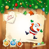 Kerstmisachtergrond met exemplaar ruimte en gelukkige Santa Claus Stock Fotografie