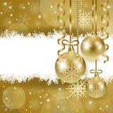 Kerstmisachtergrond met exemplaarruimte, in goud Stock Foto