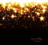 Kerstmisachtergrond met fonkelende sterren en flitsen royalty-vrije stock fotografie