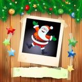 Kerstmisachtergrond met foto van gelukkige Kerstman Stock Foto