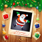 Kerstmisachtergrond met foto van gelukkige Santa Claus Stock Afbeelding