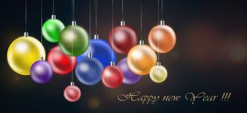 Kerstmisachtergrond met gekleurde ballen royalty-vrije stock foto's