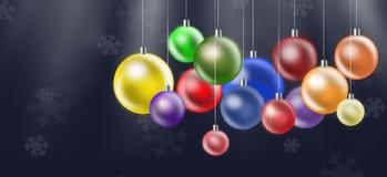 Kerstmisachtergrond met gekleurde ballen stock fotografie