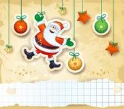 Kerstmisachtergrond met gelukkige Kerstman en exemplaarruimte Stock Foto