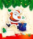 Kerstmisachtergrond met gelukkige Kerstman, gift en exemplaarruimte Stock Afbeelding