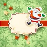 Kerstmisachtergrond met gelukkige Kerstman op sneeuwachtergrond Royalty-vrije Stock Afbeeldingen