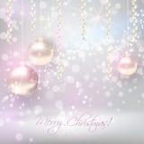 Kerstmisachtergrond met glanzende Kerstmissnuisterijen Royalty-vrije Stock Foto's