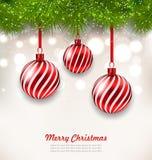 Kerstmisachtergrond met Glas Hangende Ballen Royalty-vrije Stock Afbeeldingen