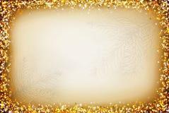 Kerstmisachtergrond met gouden abstract kader Stock Afbeeldingen