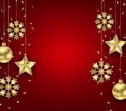 Kerstmisachtergrond met Gouden Ballen, Sterren en Sneeuwvlokken stock illustratie