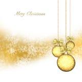 Kerstmisachtergrond met gouden snuisterijen royalty-vrije stock foto's