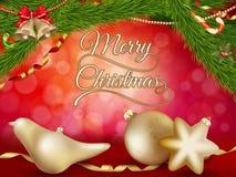 Kerstmisachtergrond met gouden snuisterijen Eps 10 Stock Foto's