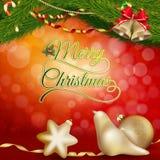 Kerstmisachtergrond met gouden snuisterijen Eps 10 Stock Foto