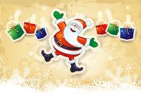 Kerstmisachtergrond met grappige Kerstman, giften en copyspace Stock Afbeeldingen