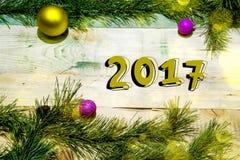 Kerstmisachtergrond met het aantal 2017 royalty-vrije stock afbeeldingen