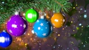 Kerstmisachtergrond met het aardige ballen 3D teruggeven Stock Afbeeldingen