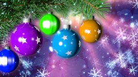Kerstmisachtergrond met het aardige ballen 3D teruggeven Stock Fotografie