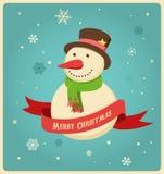 Kerstmisachtergrond met hipstersneeuwman Stock Foto