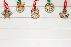 Kerstmisachtergrond met houten feestelijk decor Royalty-vrije Stock Fotografie