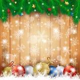 Kerstmisachtergrond met houten lijst en Kerstmisballen Stock Afbeeldingen