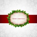 Kerstmisachtergrond met hulstbladeren Stock Afbeeldingen