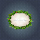 Kerstmisachtergrond met Hulstbladeren Stock Foto