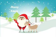 Kerstmisachtergrond met Kerstboom, Santa Claus en herten in sneeuwlandschap Royalty-vrije Stock Afbeeldingen