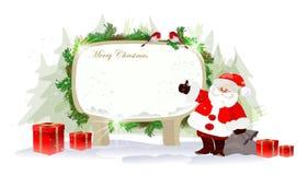 Kerstmisachtergrond met Kerstman Stock Afbeeldingen