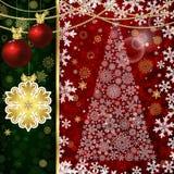 Kerstmisachtergrond met Kerstmisballen, decorelementen en sneeuwvlokken stock illustratie