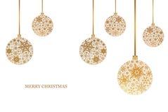 Kerstmisachtergrond met Kerstmisballen met sneeuwvlokornament Vrolijke Kerstmis Stock Afbeeldingen