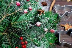 Kerstmisachtergrond met Kerstmisboom, rode bessen op donkere houten Royalty-vrije Stock Fotografie