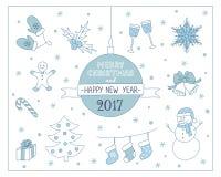 Kerstmisachtergrond met Kerstmisboom, sneeuwman, peperkoek, hulstbes, enz. Vector illustratie Stock Afbeeldingen