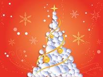 Kerstmisachtergrond met Kerstmisboom, sneeuwvlokken Stock Fotografie