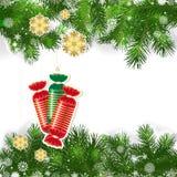 Kerstmisachtergrond met Kerstmisdecor en groene takken stock illustratie