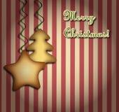 Kerstmisachtergrond met koekjes Stock Afbeeldingen
