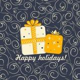 Kerstmisachtergrond met krullen Royalty-vrije Stock Fotografie