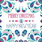 Kerstmisachtergrond met leuke bloemenornament en handtekening Royalty-vrije Stock Afbeeldingen